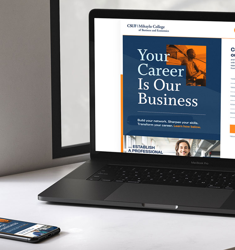 CSUF landing page on laptop and mobile device
