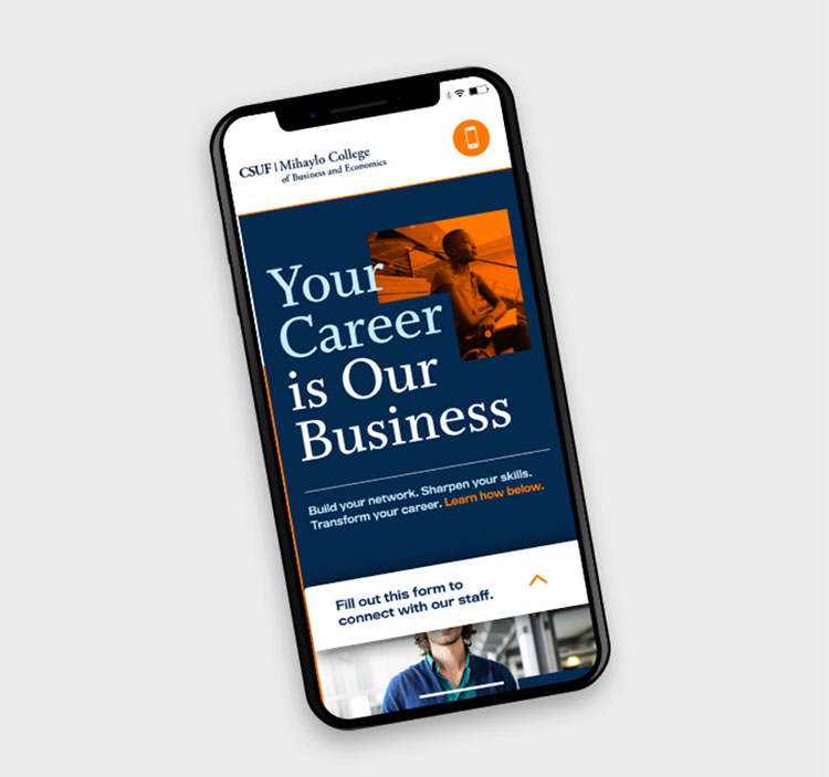 CSUF landing page on mobile device