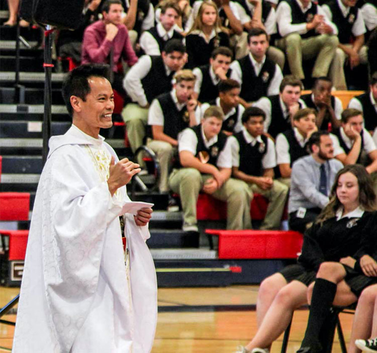 Priest at assembly