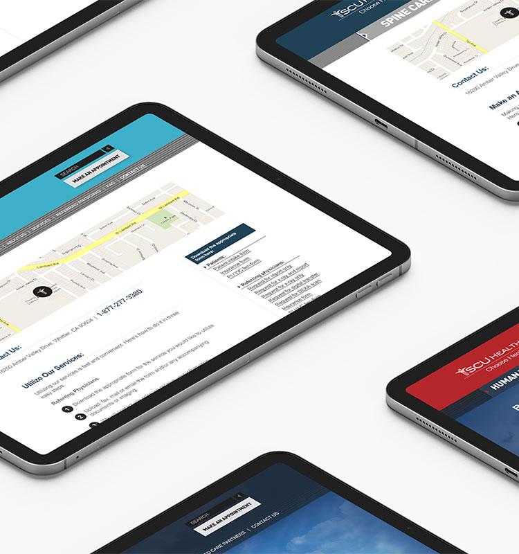 SCUHS website on tablets