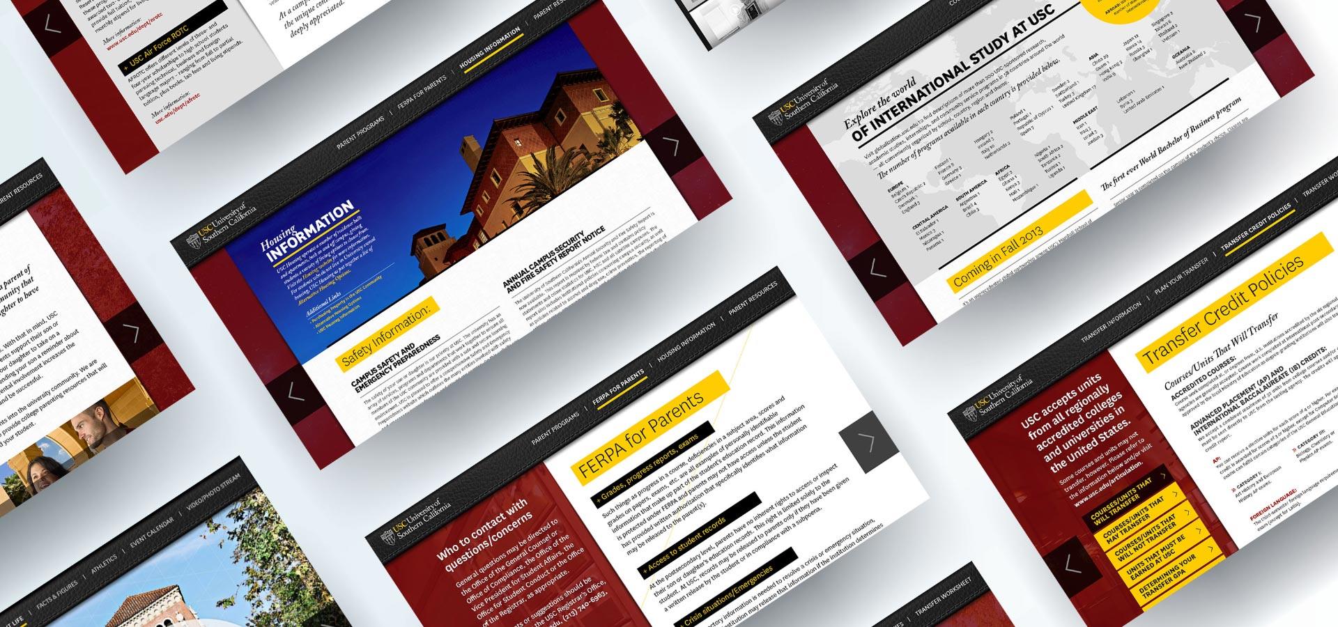 USC web screenshots